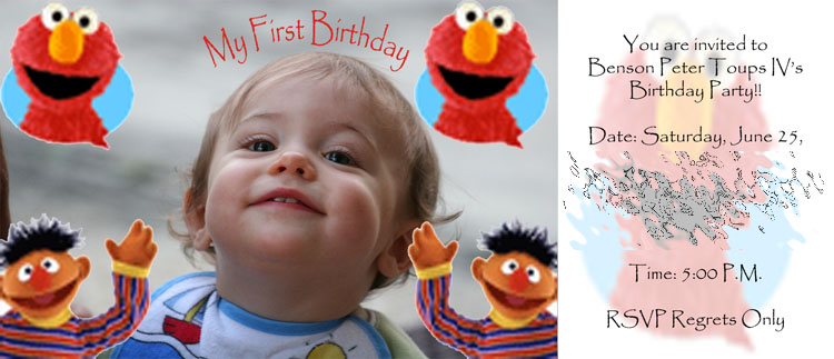 My sons first birthday party invitation people in photography on image httpbtoupshostbenbirthdaycard stopboris Images
